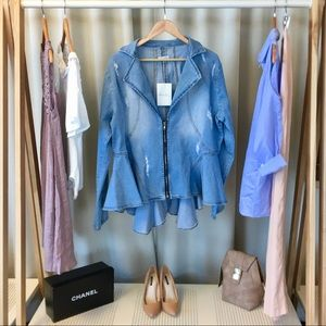 Eleven60 Distressed Denim Peplum Jacket