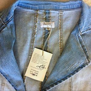 eleven60 Jackets & Coats - Eleven60 Distressed Denim Peplum Jacket