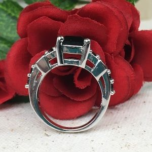 Kaki Jo's Closet Jewelry - Black Glass 18k White Gold Filled Ring