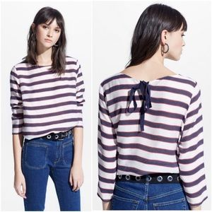 MNG White Navy Red Striped Rastro Shirt Top