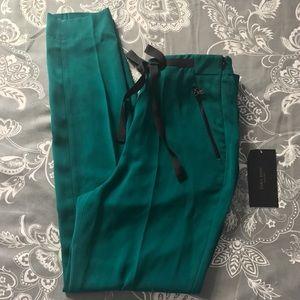 ZARA BASIC : Green Cropped Dress Pants w/Ribbon.XS