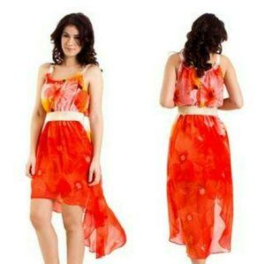 SALE! XOXO Orange Floral High Low Dress