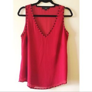 Sanctuary Red Tank w/ Black Beads Size Small