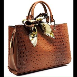 Handbags - Croc/Ostrich Print Vegan Leather Scarfed Handbag