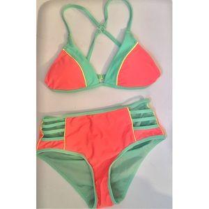 Retro High Rise Bikini Swim Set