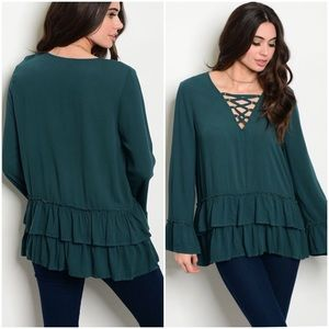 Tops - Lace Up Long Sleeve Blouse