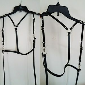 🖤 Black Long Shoulder Harness Sexy Cool Edgy Punk