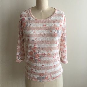 Tops - Pastel Pretty Stripe and Floral Print Top.