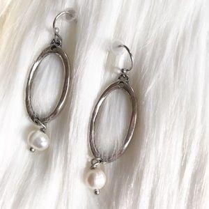Burnished Silvertone Oval Dangling Earrings