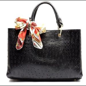 Handbags - Black Croc/Ostrich Scarfed Handbag