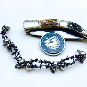Skulls & Barbed-wire Crafted Pewter Wrist Chain