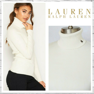 Lauren Ralph Lauren Cotton Ribbed Turtleneck Sz M