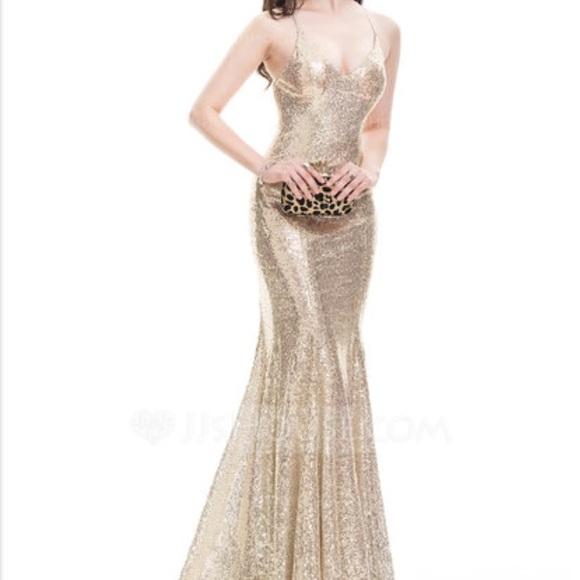 jjshouse Dresses | Champagne Sequin Trumpet Dress | Poshmark