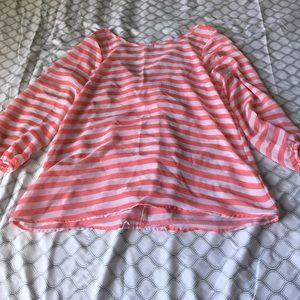 Potters Pot pink & white striped blouse