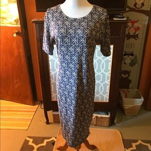 Blue and white Julia dress Lularoe NWOT