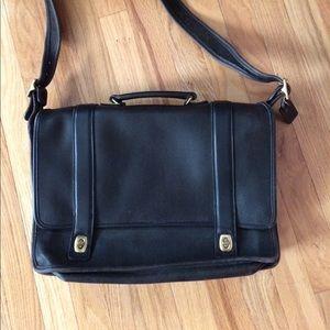 Coach black leather  laptop bag/briefcase