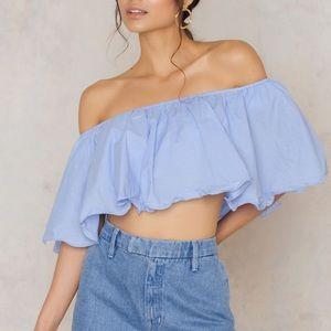 Blue off the shoulder Top
