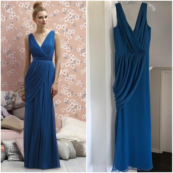 Lela Rose Dresses Grecianstyle Draped Blue Vneck Formal Dress