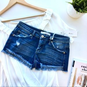 5-Pocket Raw Hem Distressed Denim Shorts