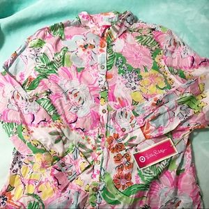 Lilly Pulitzer Tops - Lilly For Target Nosey Posey Button Shirt XXL