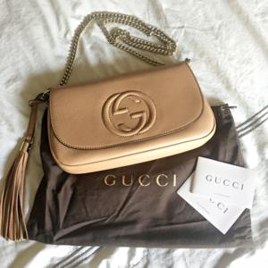 NWT Gucci Soho Medium Chain Flap Shoulder Bag Tan