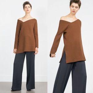 NWOT Zara Knit Asymmetrical Neckline Brown Sweater