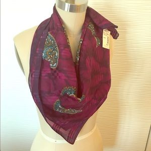 Accessories - Purple Scarf w/ Green Paisley Design