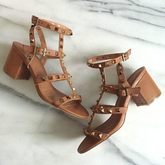 1a7a9e842f0 Cognac Studded Caged Ankle Strap Block Heel Sandal