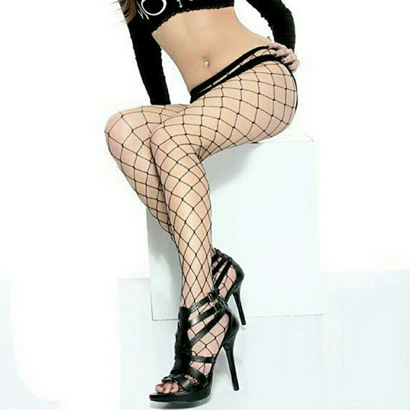871a8e892c8 2  12 Sexy Black LARGE HOLE Fishnet Stockings NEW