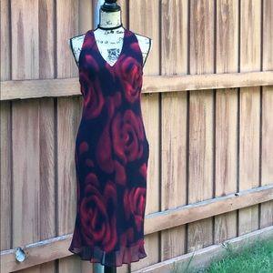 Express midi red &black dress