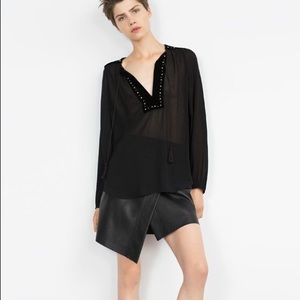 Zara Black Faux Leather Asymmetrical Skirt