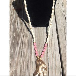 Pink sea glass beaded necklace with oyster shell