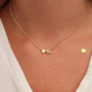 """Dainty letter """"A"""" gold color necklace"""
