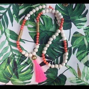 Handmade wood bead necklace with tassel