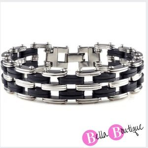 Other - Men's Stainless Steel Black Rubber Bracelet