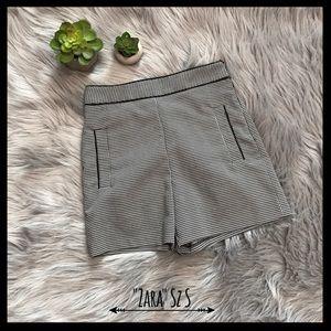 Zara Tiny Checked Pattern High Waist Dress Shorts