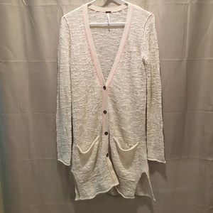 FREE PEOPLE ivory pink sweater