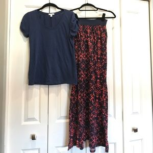 Outfit - Navy Blue Top & Coral and Navy Maxi Skirt
