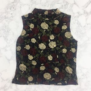 VTG 90's Sheer Rose Floral Top