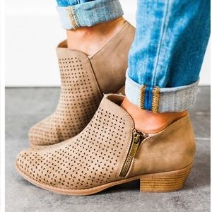 Shoes - Laser cut taupe bootie.