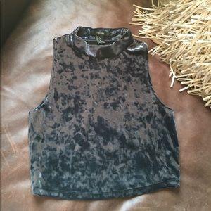 Dark Grey Velvet Crop Top