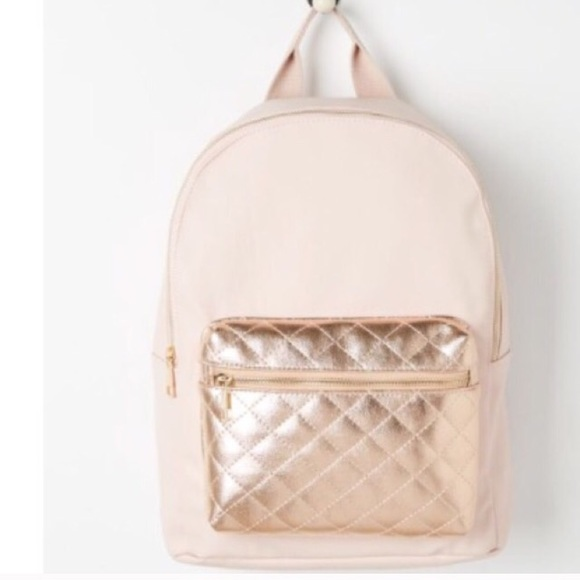 Bags Salerose Gold Quilted Backpack Poshmark