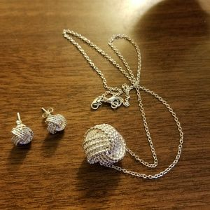 Jewelry - Sterling Silver Knot Pendant and Earrings