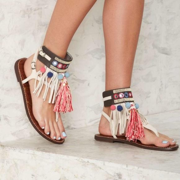 54eb920b34c56d Sam Edelman Gere Embellished Pompom Sandals