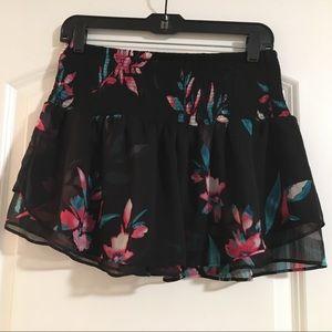 Express Black Floral Mini Skort