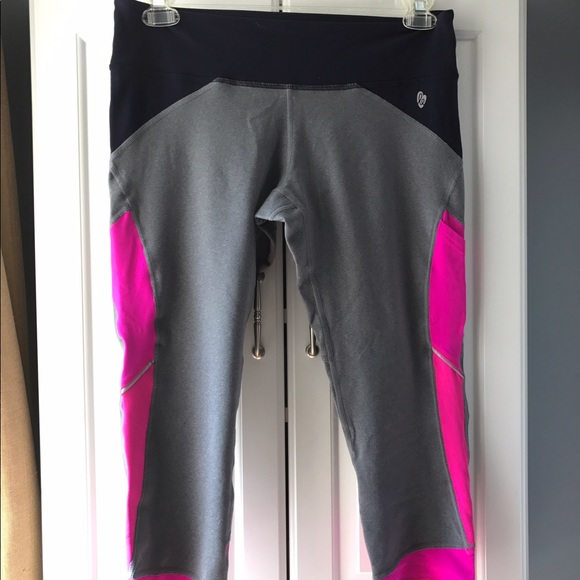 Ellie Pants - Ellie grey capris w pink and Tblue color blocking