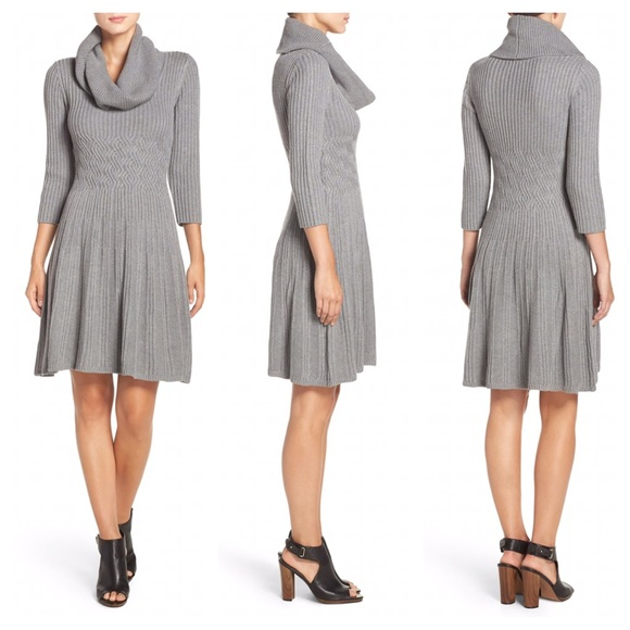 Eliza J Dresses Fit Flare Sweater Dress Grey Xs Skater Poshmark