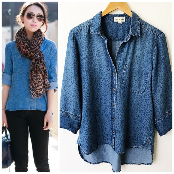 2e5eded1a417 Anthropologie Tops - Anthropologie Cloth & Stone Leopard Chambray Shirt