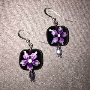 Jewelry - Sterling and purple glass earrings
