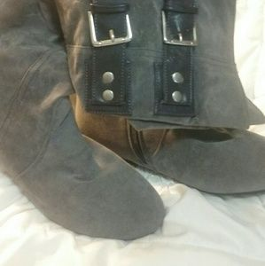 Shoes - Grey faux leather boots never worn
